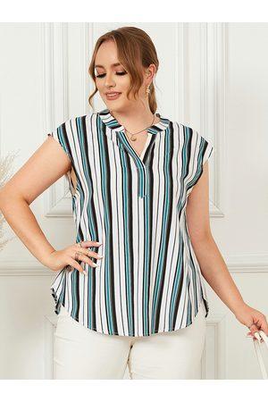 YOINS Plus Size V-neck Striped Sleeveless Tank Top