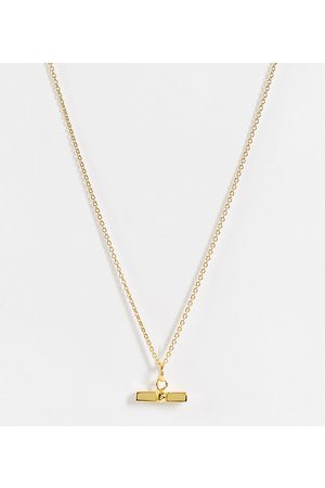 ASOS Women Necklaces - Sterling silver with plate necklace with t bar pendant