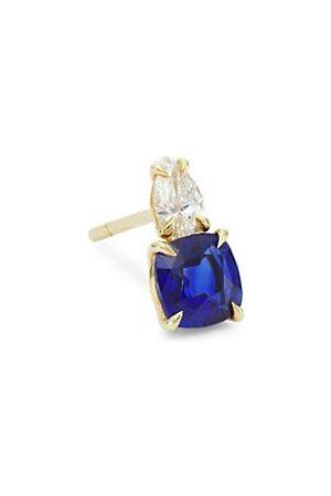 Anita Earrings - 18K , Pear Diamond, & Blue Sapphire Single Stud Earring