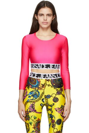 Versace Jeans Couture Pink Shiny Cropped Long Sleeve T-Shirt