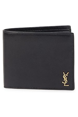 Saint Laurent Men Wallets - Tiny Monogram East/West Leather Wallet