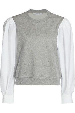 Derek Lam Milton Mixed Media Puff-Sleeve Sweatshirt