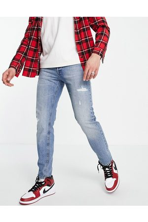 JACK & JONES Intelligence Mike straight fit jeans in with rips in