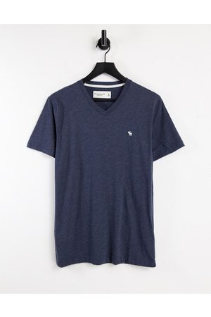Abercrombie & Fitch Icon logo v-neck t-shirt in navy
