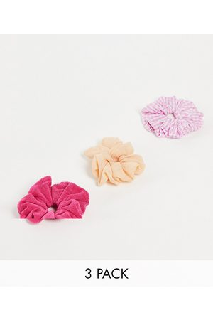 ASOS Pack of 3 scrunchies in mixed fabrics