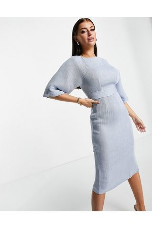 Closet Women Pencil Dresses - Ribbed pencil midi dress with tie belt in powder