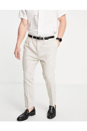 ASOS Super skinny suit trousers in stone neppy basketweave-Neutral