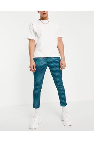 ASOS Co-ord smart tapered cropped trousers with retro stripe in