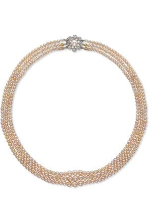 Pragnell 18kt white gold Victorian saltwater three row pearl and diamond clasp necklace