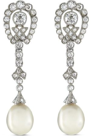Pragnell Pre-owned Edwardian 18kt rose gold diamond and pearl drop earrings