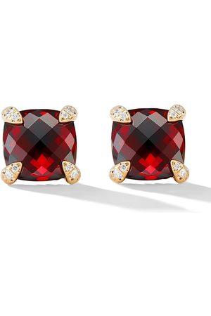 David Yurman 18kt yellow gold Châtelaine garnet and diamond stud earrings