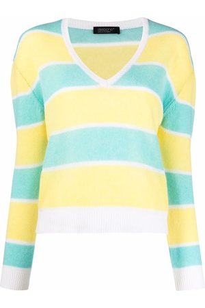 ARAGONA Striped V-neck cashmere jumper