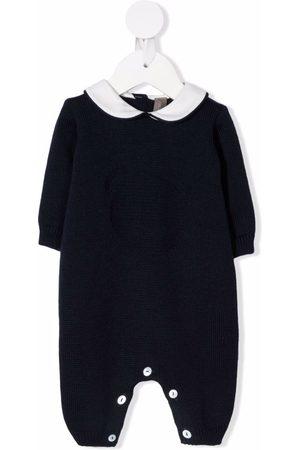 LITTLE BEAR Contrasting-collar virgin wool romper