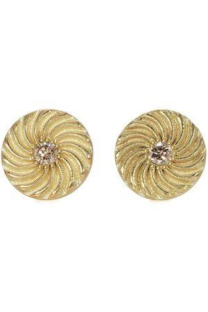 FLORA BHATTACHARY 14kt recycled yellow Kundalini Spiral diamond stud earrings