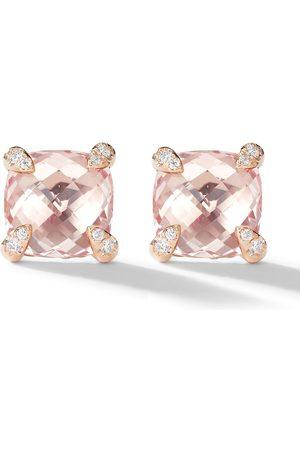 David Yurman 18kt rose gold Chatelaine morganite and diamond stud earrings