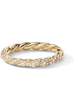 David Yurman 18kt yellow Petit diamond pavé flex ring