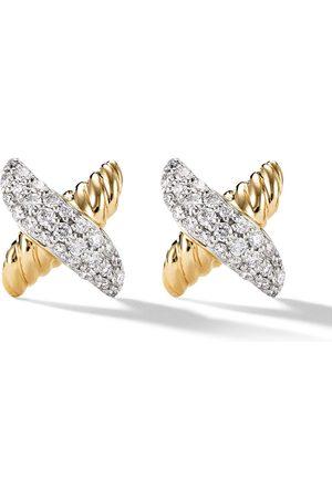 David Yurman 18kt yellow Petit X diamond earrings