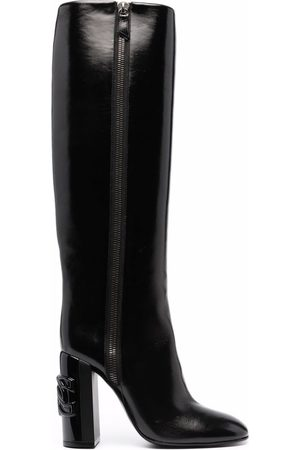 Casadei C-Chain over-the-knee 100mm leather boots