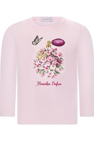 MONNALISA Perfume-print long-sleeved T-shirt