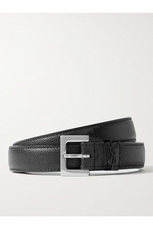 SAINT LAURENT Men Belts - 2cm Pebble-Grain Leather Belt
