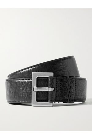 Saint Laurent Men Belts - 3cm Pebble-Grain Leather Belt