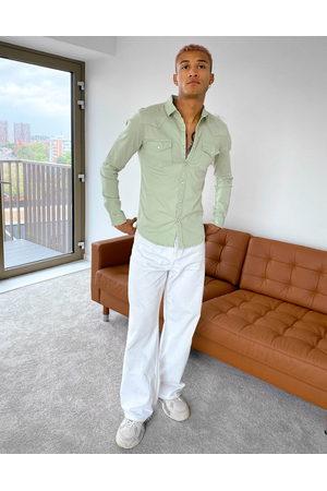 ASOS DESIGN Men Denim - Skinny fit western denim shirt in sage