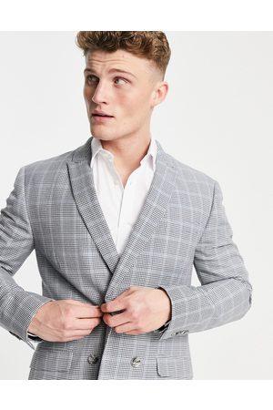 Topman Men Blazers - Skinny double breasted suit jacket in check