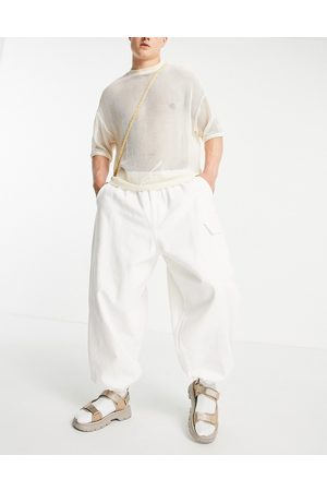 ASOS Trousers with elasticated waist and cargo pocket in white