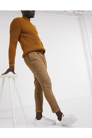 ASOS Men Chinos - Tapered wool mix smart trousers in camel-Neutral