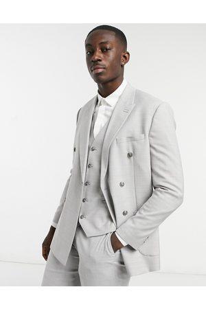 Topman Slim double breasted suit jacket in