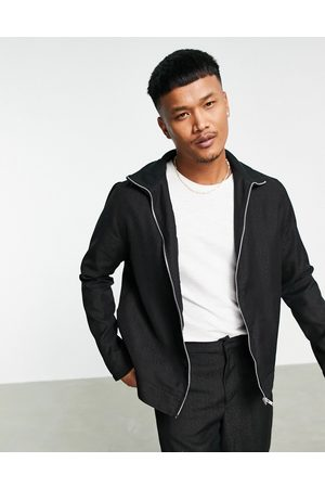 ASOS DESIGN Co-ord smart track jacket with leopard jacquard in black