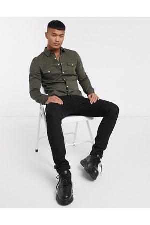 ASOS Men Denim - Skinny fit western denim shirt in khaki