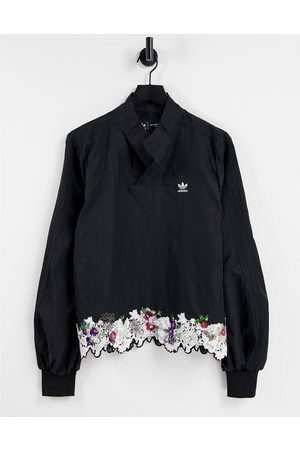 adidas Originals X Dry Clean Only logo sweatshirt with satin collar in with sequin lace hem