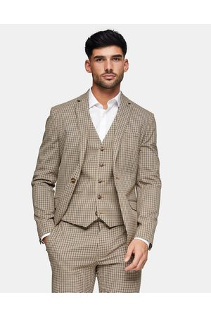 Topman Skinny single breasted suit jacket in stone check-Neutral