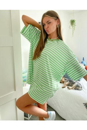 Weekday Huge organic cotton oversized t-shirt dress in green and white stripe-Multi
