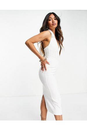 ASOS DESIGN Sleeveless shirt midi pencil dress with corsetted lace waist in