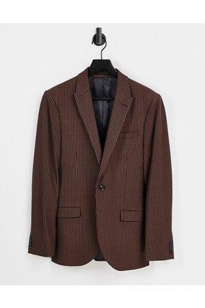 Topman Men Blazers - Skinny single breasted suit jacket in check