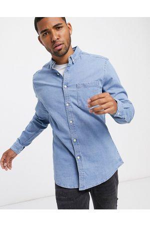 ASOS Stretch slim denim shirt in bleach wash