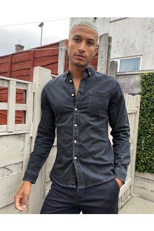 ASOS Stretch slim denim shirt in washed black