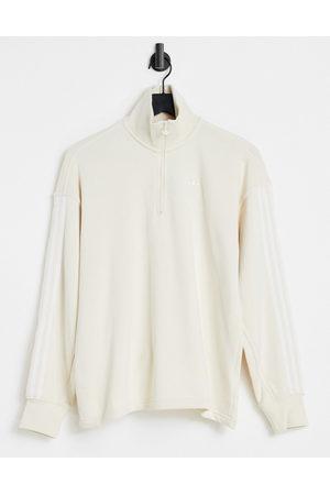 adidas Originals Adicolor three stripe quarter zip sweatshirt in oatmeal