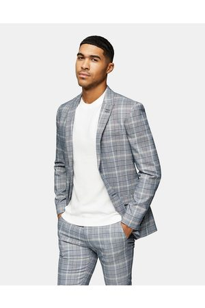 Topman Skinny single breasted suit jacket in grey check-Neutral