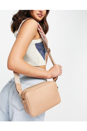 ASOS DESIGN Leather double compartment camera bag with webbing strap in -Neutral