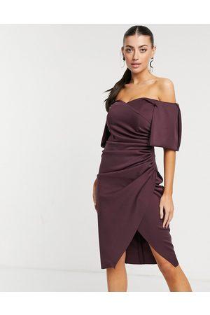ASOS Sweetheart neck wrap tuck off shoulder bardot midi dress in plum