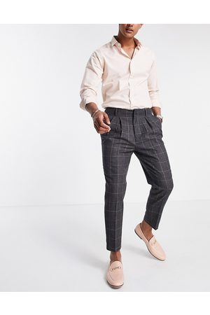 ASOS DESIGN Tapered smart trousers in wool mix check