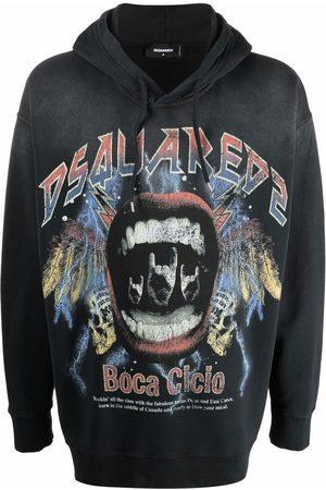 Dsquared2 Men Sweatshirts - Vintage rock logo hoodie