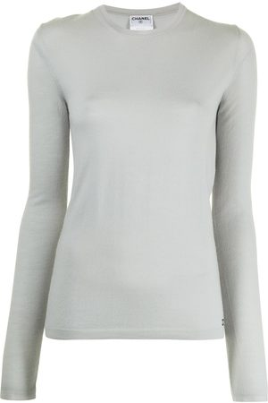 CHANEL 2002 logo embroidered long-sleeved knitted top