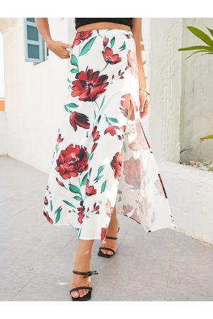 YOINS Floral Print Slit Hem Maxi Skirt
