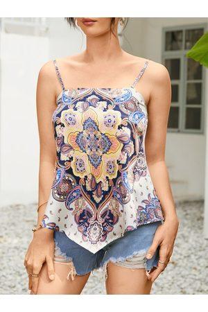 YOINS Paisley Backless Design Handkerchief Hem Sleeveless Cami