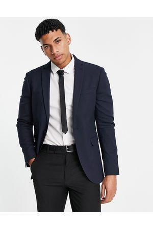 Topman Men Blazers - Super skinny single breasted suit jacket in navy