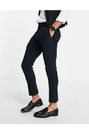ASOS DESIGN Men Skinny Pants - Super skinny suit trousers in blackwatch tartan-Navy